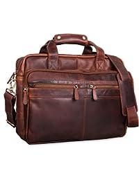 STILORD 'Explorer' Lehrertasche Leder Herren Damen Aktentasche Büro Schulter- oder Umhängetasche für Laptop mit Dreifachtrenner Echt Leder Vintage