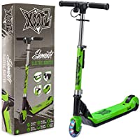 Xootz Kids Electric Scooter Folding with LED Light Up Wheel and Collapsible Handlebars, Element, Blue/Green