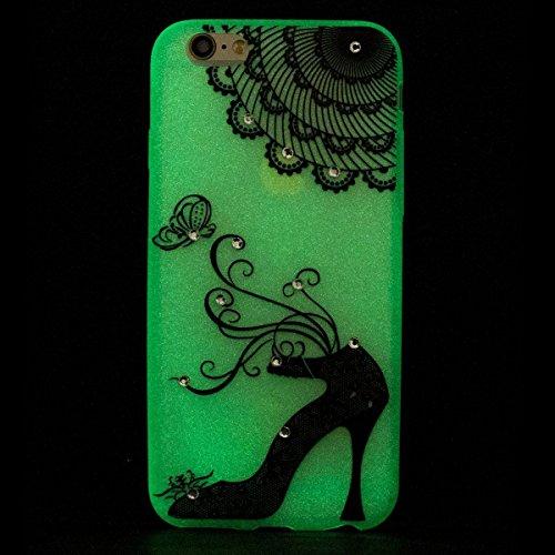 Glitzer Hülle für iPhone 6S,iPhone 6 Hülle,iPhone 6 Hülle Transparent Crystal Bling Glitzer Flüssig Case Hülle Klare Ultradünne Plastik Gel Schutzhülle für iPhone 6S / 6 4.7 Zoll,EMAXELERS iPhone 6S H P Luminous TPU 7