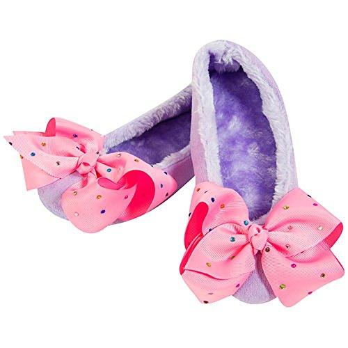 (JoJo Bögen Hausschuhe Signature Collection Bögen Ballerina oder Bootie Slipper-beste Weihnachtsgeschenk für Ihr kleines Mädchen (1-2, lila Ballerina Slipper))