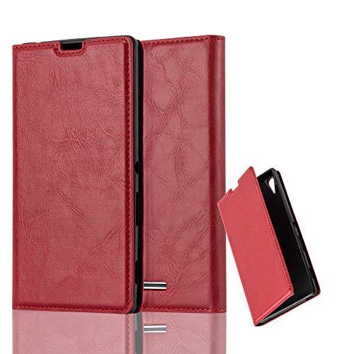 Cadorabo Hülle für Sony Xperia T3 - Hülle in Apfel ROT - Handyhülle mit Magnetverschluss, Standfunktion und Kartenfach - Case Cover Schutzhülle Etui Tasche Book Klapp Style Style-hülle
