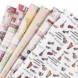 RUSPEPA Fogli Di Carta Da Regalo - Carta Da Regalo Stile Vintage Marrone Chiaro Per Mestiere, Presente, Fiore - 6 Fogli Piegati - 50 Cm X70 Cm