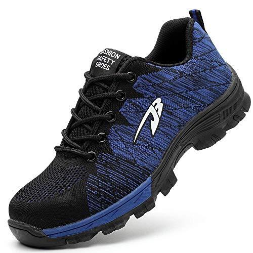 Gaatpot Herren Damen Sicherheitsschuhe Arbeitsschuhe Leicht Atmungsaktiv Mesh Sportlich Trekking Schuhe Wanderhalbschuhe Schutzschuhe Stahlkappe