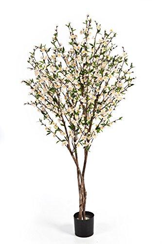artplants – Künstlicher Kirschblütenbaum ZADAR, weiß-gelbe Blüten, 663 grüne Blätter, 140 cm – Deko Kirschbaum/Zimmer Blumen Baum