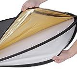 Neewer® 5 in 1 Faltreflektoren Set Reflektor (110CM Ø) Gold, Silber, Weiß, Schwarz und transparent für Studio und Foto Diffusor - 3