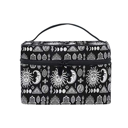 Kosmetiktasche, Make-up Tasche, Large Travel Makeup Train Case Tribal Ethnic Mexican African Ornament Carrying Portable Zip Cosmetic Brush Bag Makeup Bag Organizer for Girls Women -