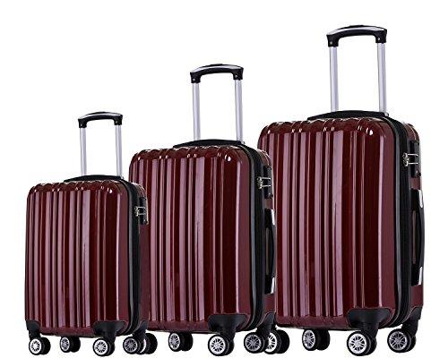 Münicase- Hartschalen Koffer Reisekoffer Trolley Rollkoffer Polycarbonat TSA-Schloß Kofferset Gepäckset (Weinrot, 3tlg. Kofferset)