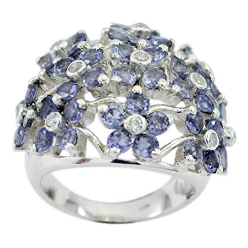 Chandra Edelsteine (gute edelsteine faincy facettierter iolite ring - massiv silber marineblau iolite guter edelstein ring - hause & lebendes bestes verkäufergeschenk für väter tag ring)