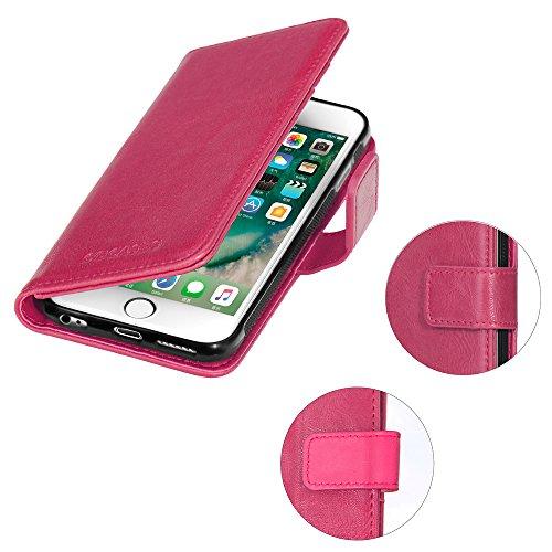 iPhone 6 Plus Hülle, 6S Plus Handytasche ,COCASES abnehmbare Ledertasche mit Magnetverschluss, Geldbeutel Style mit Kartenfach (Rosa Gold) Rosa Rot