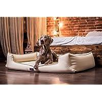 [Gesponsert]tierlando G4-L-05 Orthopädisches Hundebett Goofy VISCO Anti-Haar Kunstleder Hundesofa Hundekorb Gr. L 100cm Beige Creme Ortho