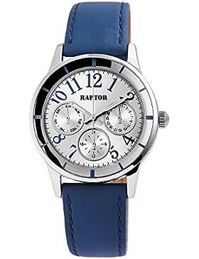 Raptor Damen Armbanduhr mit Lederarmband und Chronolook in blau   Ø36 mm - 197822600047