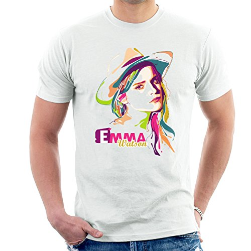 Geometric Celebrity Emma Watson Men's T-Shirt White