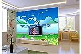 Mznm Maßgeschneiderte 3D Wallpaper 3D Wandbilder Tapeten Dolphin Jump Meerblick Hintergrund Tapete Wohnzimmer Wallpaper 350 X 250 Cm