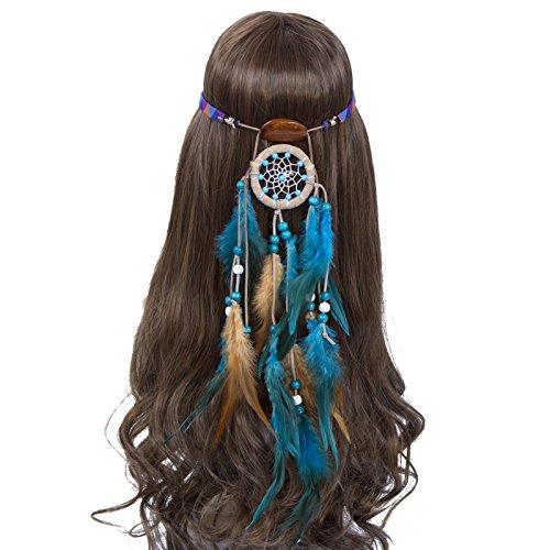 (Traumfänger Feder Stirnband Boho Kopfschmuck - Retro Bohemien Schick Kopfbedeckungen zum Frauen Mädchen Quaste Haarband Festival Kopfstücke (Türkisgrün))