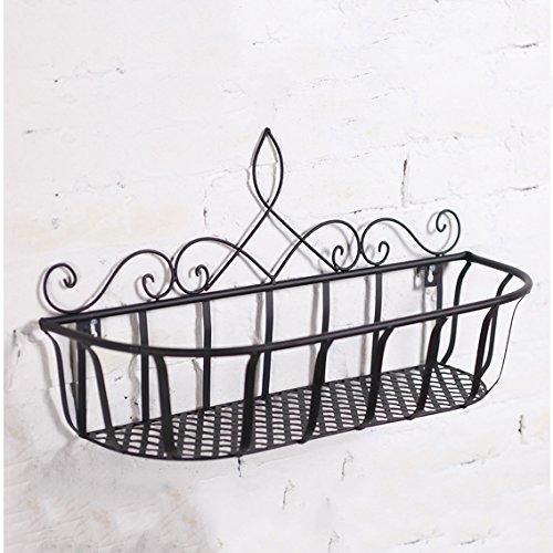 LRW Europäische Eisen-Wand-kreativer Balkon-Wand-Blumen-Wand-Topf-Gestell-Gestell auf Wand (Color : A, Size : 45 * 15 * 25cm) - Eisen-wand-schatten