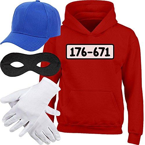 KIDS Panzerknacker HOODIE + MÜTZE + MASKE + HANDSCHUHE Kinder Kapuzenpullover Hoodie, Rot, Gr. 122/128 (7-8 Jahre) (8 Gruppe Kostüme Für)