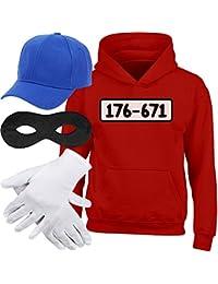 Shirtgeil Kids Panzerknacker Hoodie + MÜTZE + Maske + Handschuhe Kinder Kapuzenpullover Hoodie