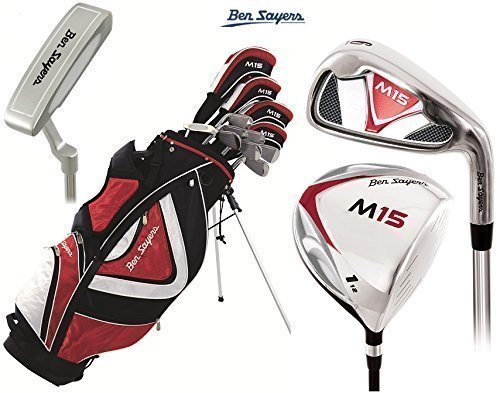 Ben Sayers M15 Complete Golf Club Set Stand Bag Mens New Steel Clubs Head Covers + FREE Ben Sayers Golf Umbrella & Society Pack Worth £24.00