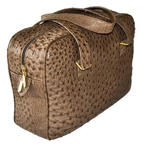 """Original Monte Lovis - Damen-Handtasche """"Bolso"""" in Dunkelbraun - ! Maßanfertigung ! - ECHTES UNIKAT aus ECHTEM STRAUßENLEDER mit dem TYPISCHEN GENOPPTEN NARBENBILD"""