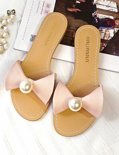 LFNLYX Chaussures Femme-Habillé-Vert / Rose / Blanc-Talon Plat-Bout Arrondi / Bout Ouvert-Sandales-Similicuir Silver