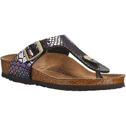 Birkenstock Women's Gizeh Cork Footbed Thong Sandal Blu Multi 38 M EU (Strap Ankle Schuhe Multi)