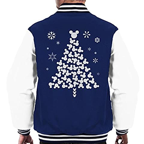 Mickey Mouse Christmas Tree Silhouette White Men's Varsity