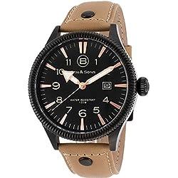 Ben & Sons Ranger Herren-Armbanduhr 45mm Armband Leder Gehäuse Vergoldetes Edelstahl Quarz 10019-BB-01-BGS