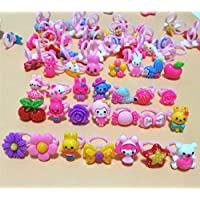 Ngel Little Girl Cute Lovely Jewellery Rings Girl Pretend Play and Dress Up Rings for Party Rings Set Cartoon Cute Kids…