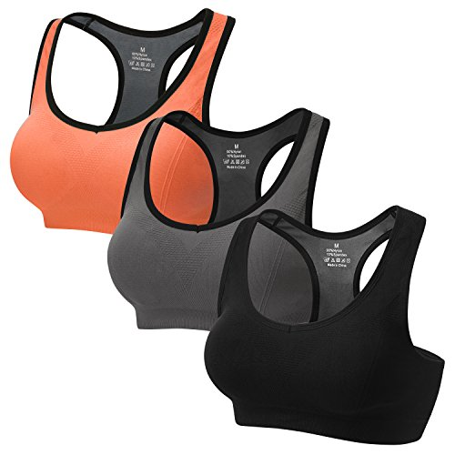 CARETOO Sport BHS für Frauen Racerback Medium High Impact Sport Fitness Yoga 3 Packs, Schwarz + Grau + Orange, XL Fit 85DD 90D 90DD 95BC 95D
