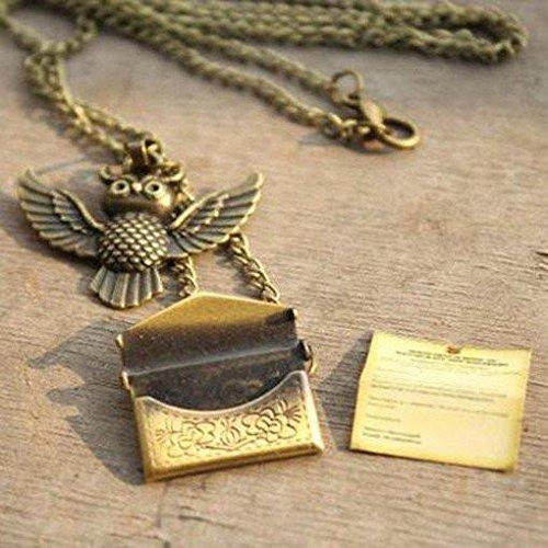 Medaillon Potter Harry Halskette (Harry Potter Halskette Harry Potter–Eule Post Halskette mit Hogwarts Akzeptanz Buchstabe Anhänger Medaillon Halskette)