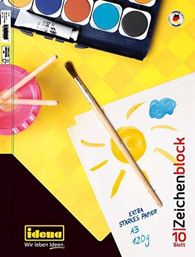 Idena 10388 Zeichenblock FSC-Mix, A3, 10 Blatt, 120 g/m²