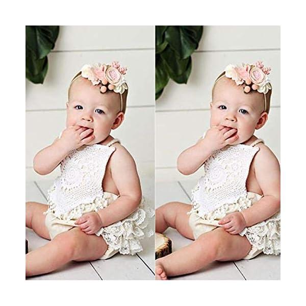 Carolilly Mono Bebé Niña Vestido Tirantes Verano sin Manga Recién Nacido Body de Algodón con Encaje (0 a 24 Meses) 2