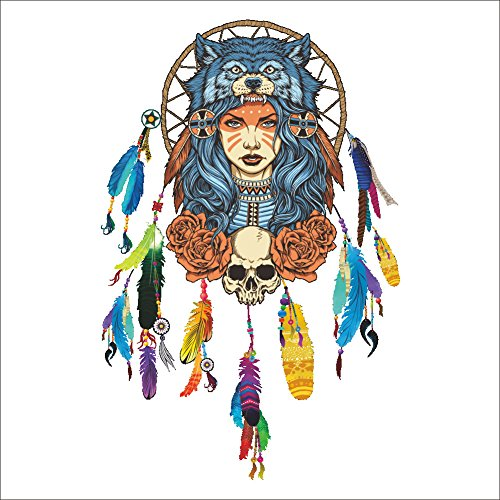 qweasdzx Indischer Wolf Kopfschmuck voller Farbe dekorative Wandaufkleber Mädchen 45cm * ()