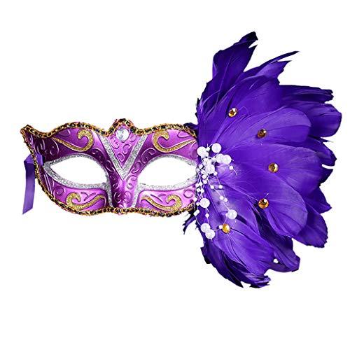 xmansky Für Weihnachten Halloween Party, Zuhause, Kamin, Hotel, Bar,Frauen-venezianische Masken-Maskerade-Abendkleid-Partei-Prinzessin Feather Masks