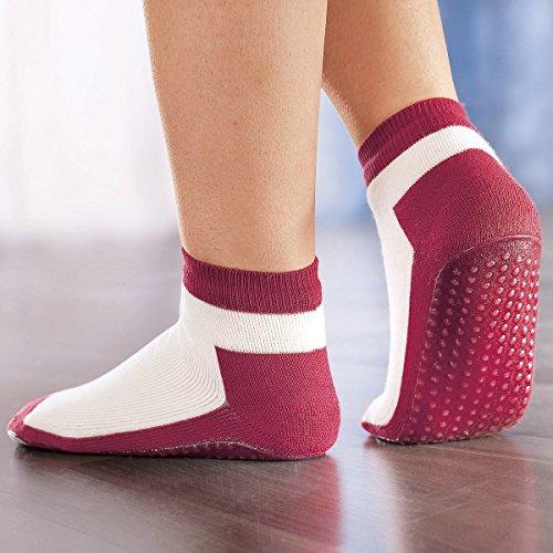 Anti-Rutsch-Socken, rutschfest, Anti-Rutsch-Noppen, rutschfest, Hausschuhe, Stoppersocken, Yogasocken, Seniorensocken, rot, 1 Paar
