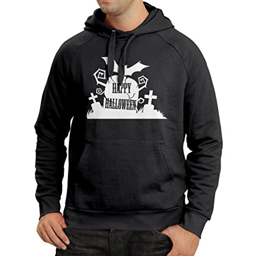 lepni.me Kapuzenpullover Halloween-Friedhof - Kostüm-Ideen - Coole Kleidung Horror-Design - All Hallows 'Abend (X-Large Schwarz Mehrfarben)