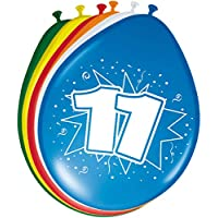 falksson Pack of 8Coloured Balloons with Numbers