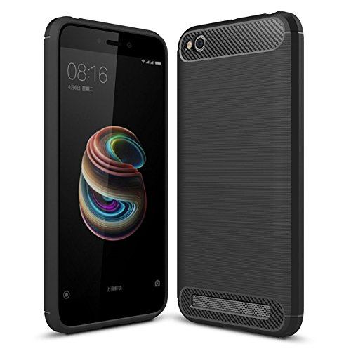AEETZ® Redmi 5A Back Cover, Redmi 5A Case Luxury TPU Slim Carbon Fiber with Full Body Protective and Anti-Scratch and Non-Slip Design Design Back Case For Redmi 5A - Black