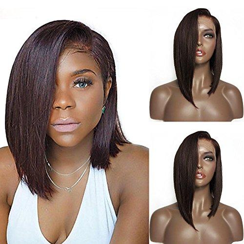 Mufly Dunkel Braun Afro Perücke Mittellang Haar Synthetische Lace Front Straight Bobo Perücken für Damen Lace Front Wigs (Spülen Dunklen Super)