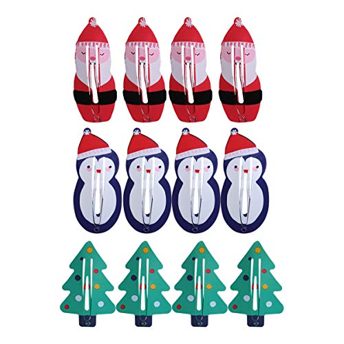 12 stücke Weihnachten Haarspangen Mode Niedlichen Metall Snap Haarnadel Haarspangen für Kinder (4 Rote Weihnachtsmann + 4 Grünen Weihnachtsbaum + 4 Blauer Schneemann)