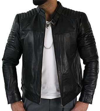 veste motard homme style biker cuir v ritable noir look. Black Bedroom Furniture Sets. Home Design Ideas