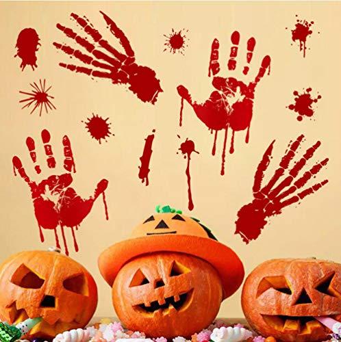 Qzheng Halloween Handabdruck Wandaufkleber Urlaub Dekoration Dekoration Kunst Aufkleber Tapete Fensterglas Aufkleber 45 * 44 Cm