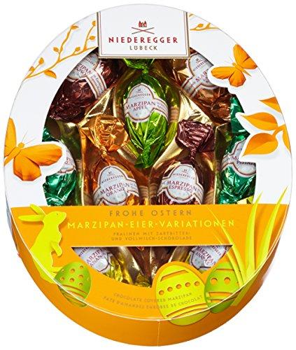 Niederegger Marzipan Eier Variationen, 6 fach sortiert, oval, 1er Pack (1 x 150 g) (Geschenk-körbe Schokolade)