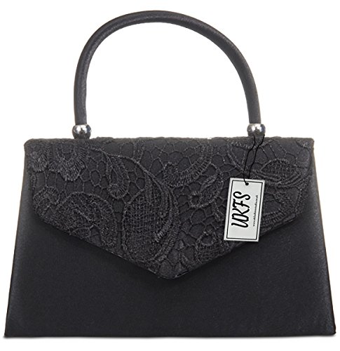 UKFS Ladies Kendall Lace Smart Elegant Evening Clutch Bag (Nero)