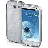 Funda protectora OneFlow para funda Samsung Galaxy S3 / S3 Neo Carcasa silicona TPU 1,5mm | Accesorios cubierta protección móvil | Funda móvil paragolpes bolso cepillado aluminio diseño en Platin-Silver