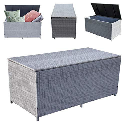 Wolketon® 1025 L XXL Grau Garten Kissenbox 160 * 80 * 80CM Auflagenbox Gartenbox Aufbewahrungsbox bis 150 kg belastbar -