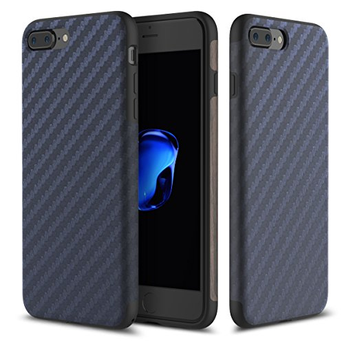 Cover Custodia For iPhone 7 plus.For iPhone 8 plus Case,ROCK [Carbon Fiber] [Light Thin Cover] [Non Slip] [Bulit-in Magnetic Metal Plate] [Fingerprint Free] Case For Apple iPhone 7 plus / iphone 8 plu Blue