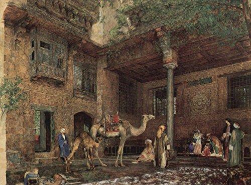 Steve Art Gallery Courtyard of The Painter's House,John Frederichk Lewis,50x40cm -