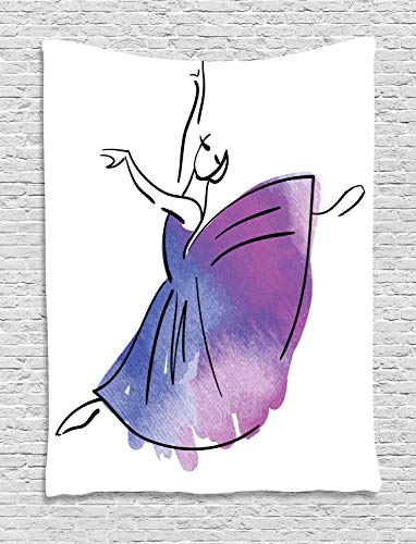 ABAKUHAUS Ballett Wandteppich, Doodle Stil Ballerina Icon, Wohnzimmer Schlafzimmer Heim Seidiges Satin Wandteppich, 150 x 200 cm, Lavendel-Blau-Violett Weiß -
