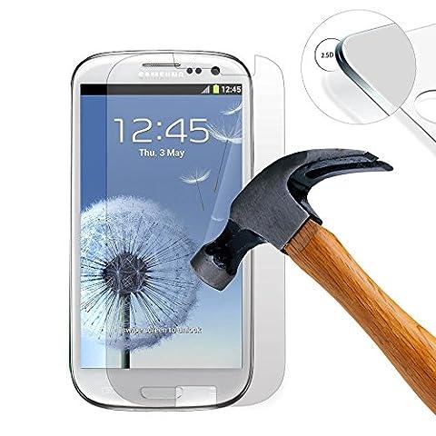 Lusee® Samsung Galaxy S3 Mini I8190 Film de Protection écran en Verre Trempé ULTRA RÉSISTANT INDICE Dureté 9H Haute transparence( plus dure que un couteau) – il est vendu avec un torchon de nettoyage et alcool isopropilique